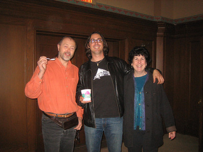 "Tao holding Bart's Ice Cream with Gary ""Bart"" Schaefer and Barbara Fingold, as he reminisced about hanging out at Bart's in Amherst when he was a student."