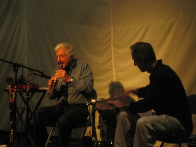 Souren playing Armenian duduk and his son on percussion.