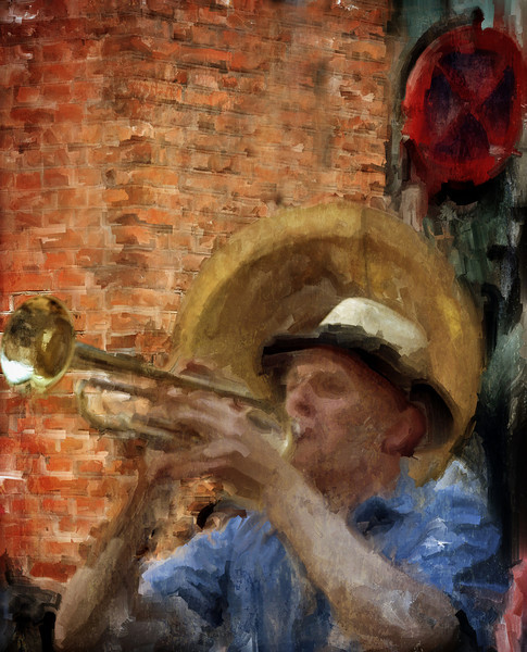 Souzaway.<br /> Trumpeter of the Orion Brass Band in front of the souzaphone.<br /> Photo painted in Corel Painter with digital sargent brush + texture layers.