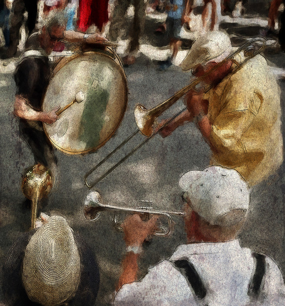 Fighting it out.<br /> Orion Brass Band, Copenhagen, Denmark.<br /> Photo painted with digital impressionist chalk brush in Corel Painter + texture layers.