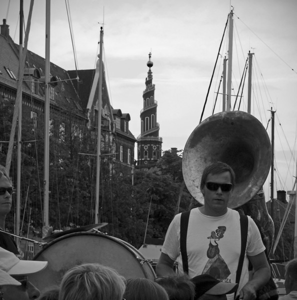 Play it high.<br /> Harbour parade with Orion Brass Band.<br /> The tower of Saint Nicholas Church. You may see a person standing at the spiral almost at the top.
