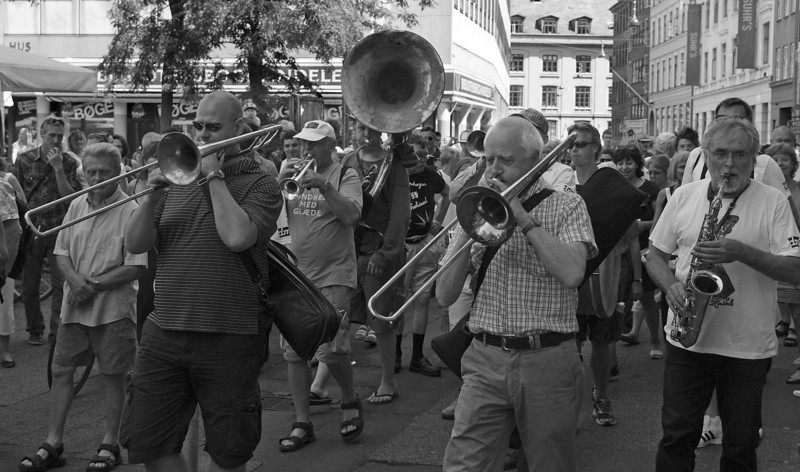 Marching on.<br /> Street parade with Orion Brass Band.