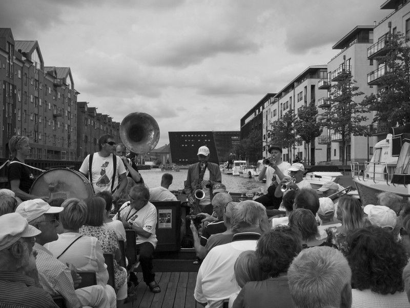 Royal Library - black building in the background.<br /> Harbour parade with the Orion Brass band.