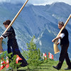 NENDAZ, SWITZERLAND – JULY 21: Kurnusian(r)  and Reuteler at the 11th International Festival of Alpine horns :  July 21, 2012 in Nendaz Switzerland