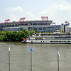 A view of the riverfront across to the LP Field, home of the Tennessee Titans and location of the evening show cases. The General Jackson paddle wheeler gave daily cruises up and down river.