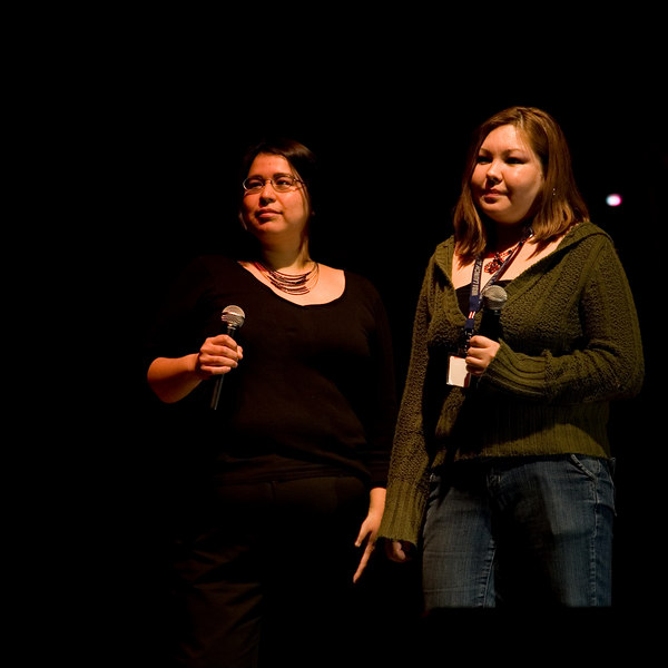 Host Phoebe Sutherland with Moose Factory's Andrea Jolly