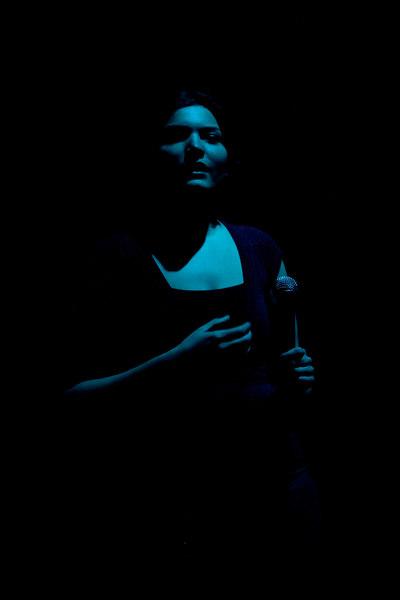 Karen Sutherland in pale blue light