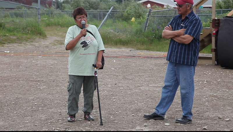 Mary Lou Iahtail at Creefest 2011 July 15 in Moosonee with Grand Chief Stan Louttit.