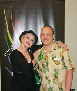 Christopher with Cyndi Lauper!  We met her backstage before the show.  (My photo with her was horrible, and nobody will ever see it. :)