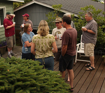 Rusties by the Dog House in the lower back yard. Beth and Mike talk with Randy and Tim (in the brown t-shirt).