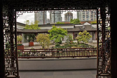 "View of Chinatown beyond the garden. As the brochure says: ""These gardens were secluded tranquil oases in urban settings...."""