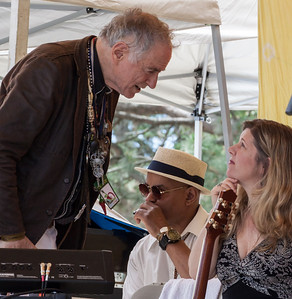 David Amram, Guy Davis and Dar Williams before the set a the 2014 Clearwater Festival.