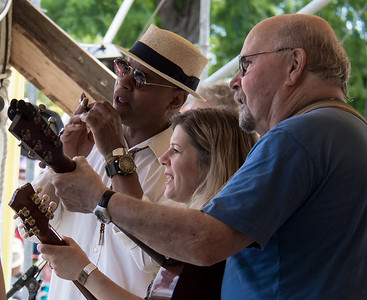 Guy Davis, Dar Williams and Tom Paxton performing at the 2014 Clearwater Festival.