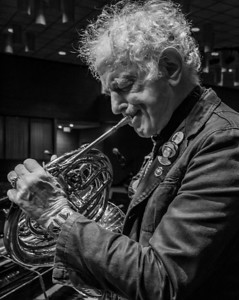 David Amram on French horn during sound check.