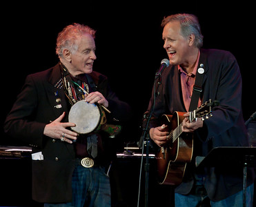 David Amram and Tom Chapin performing together at Music Hall in Tarrytown, NY in 2012.