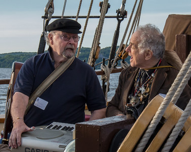 Tom Paxton and David Amram singing on the Mystic Whaler, June 2014.