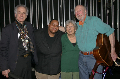 David Amram, Toshi Reagon, Toshi Seeger and Pete Seeger back stage at Beacon High School after the 2008 Clearwater Spring Splash.