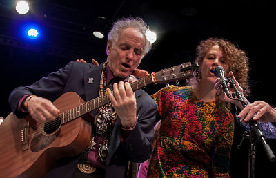 David Amram and his daughter Alana, Symphony Space, NYC, November 2012.  That's Pete Seeger's hands adjusting Alana's mic.
