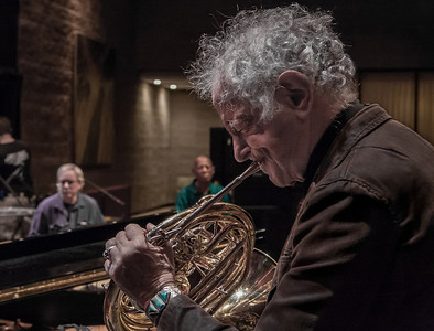 David amram with French horn, Elliott and Winterhawk in background