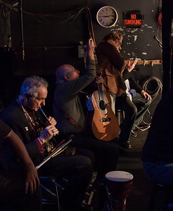 David Amram and Peter Yarrow in the wings at Symphony Space, 2012.