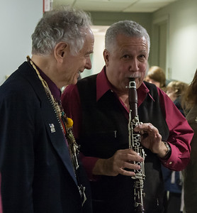 David Amram and Paquito d'Rivera in the green room at NYC's Symphony Space, 2012.