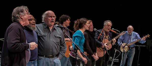 John Sebastian, Josh White, Jr., Tom Paxton, the Power of Song singer with David Amram and Pete Seeger for their sound check at Symphobny Spce, NYC in 2012.