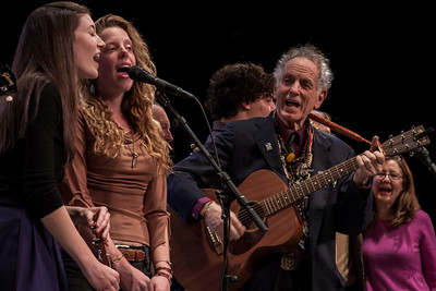 Power of Song Singers, David Amram and Mia Dillon a Symphony Space, NYC in November 2012.  That's a bit of Pete Seeger's face in the middle of the shot.