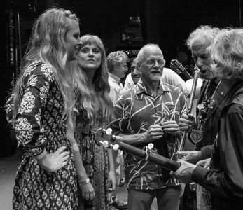 Abigail Chapin and Lily Chapin (Chapin Sisters), Michael Mark, David Amram and Bill Vanaver. backstage at the Bardavon Theater in Poughkeepsie, NY.  This was for the Seegerfest Memorial Tribute on July 18, 2014.