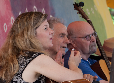 Dar Williams, David Amram and Tom Paxton on the Rainbow stage at the 2014 Clearwater Festival.