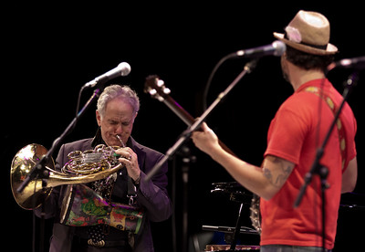 David Amram and Tao Seeger at tSymphony Space, NYC October 2011 performing at the Hudson River Sloop Clearwater tribute to George Wein.