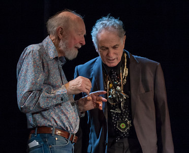 Pete Seeger and David Amram having a conversation in the wings at Tarrytown, NY's Music Hall in 2011.