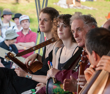 Alana Amram, Adira Amram and David Amram on the Rainbow Stage for the Generations Set at the 2011 Hudson River Sloop Clearwater Festival in Croton, NY.  This set brought together multiple generations of performers.