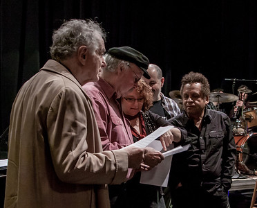 David Amram, Tom Paxton, Lisa Gutkin,Lorin Sklamberg, and Garland Jeffreys going over a new song backstage at the Tarrytown Music Hall.  March, 2012, Clearwater Earth Day Concert.