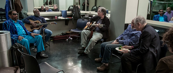 Henry Butler, Josh White Jr., John Sebastian, Pete Seeger and David Amram in the green room at Symphony Space, November 2012.