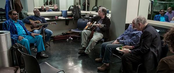 Henry Butler, Josh White Jr., John Sebastian, Pete Seeger and David Amram in the green room at Symphony Space, November 2012.