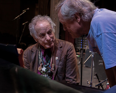 David Amram and Tom Chapin during sound check at the Bardavon, Poughkeepsie, NY July 18, 2014.