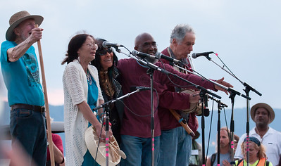 Pete Seeger, Margot Thunderbird, Buffy Sainte Marie, Josh White Jr., David Amram at the closing ceremony of the Clearwater Festival 2013.