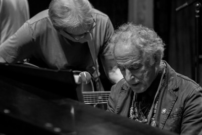 Happy Traum and David Amram at sound check, Bardavon Theater, Poughkeepsie, NY, Seegerfest.  July 18, 2014.
