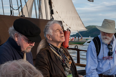 Tom Paxton and David Amram on the Mystic Whlaer.  That's the Clearwater sailing alongside.  June 2014.