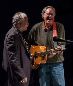 David Amram and Tom Chapin having a laugh backstage just before Tom's sound check.  Symphony Space, NYC, October 2011.
