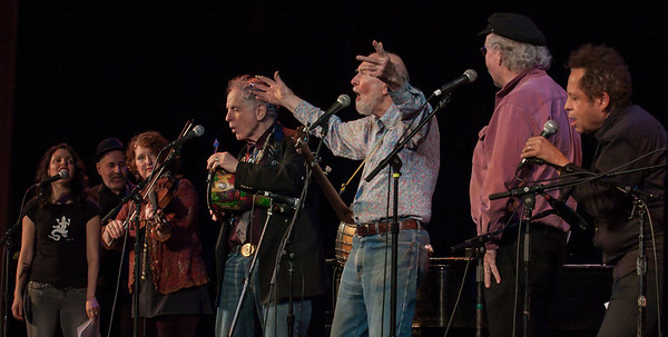 Lucy Kaplanski,Lorin Sklamberg, Lisa Gutkin, david Amram, Pete Seeger, tom Paxton and Garland Jeffreys. Music Hall, Tarrytown, NY Clearwater Earth Day Concert, 2012.