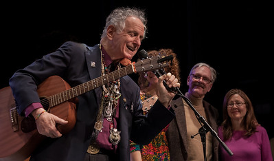 David Amram, Alan Amram, Keir Dullea and Mia Dillon at Symphony Space, NYC, November 2012.