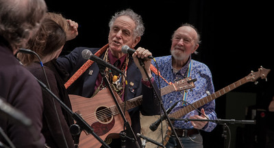 David Amram, Pete Seeger, John Sebastian on the far left and two members of Clearwater's Power of Song group at Symphony Space, NYC in November 2012.