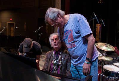 David Amram and Tom Chapin during sound check at Seegerfest, Bardavon Theater, Poughkeepsie, NY, July 18, 2014.  Pete Seeger Tribute.