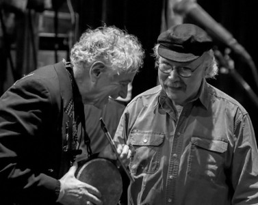 David Amram and Tom Paxton having a laugh backstage at Symphony Space, NYC in October 2011.