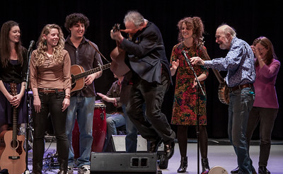 Power of Song Singers, Adam Aram (in back) David Amam in the air, Alana Armam, Pete Seeger and Mia Dillon at the finale.  Symphony Space, NYC, November 2012.  This was a concert to honor David and present him with the Hudson river Sloop Clearwater Power of Song Award.