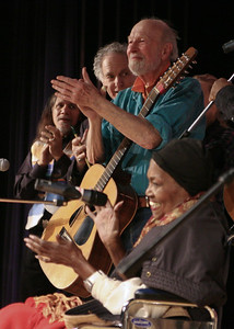 Roland Moussa, Davis Amram, Pete Seeger and Odetta in one of her final performances.  Beacon High School, March 2008.