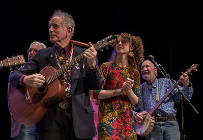 David Amram, Alan Amram, Pete Seeger with Keir Dullea behind David. This was during the finale at Symphony Space, NYC in November 2012.