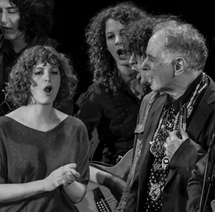Adira Amram, Alana Amram, Adam Amram and David Amram at the finale of The Hudson River Sloop Clearwater Earth Day Concert in 2011 at Music Hall in Tarrytown, NY.