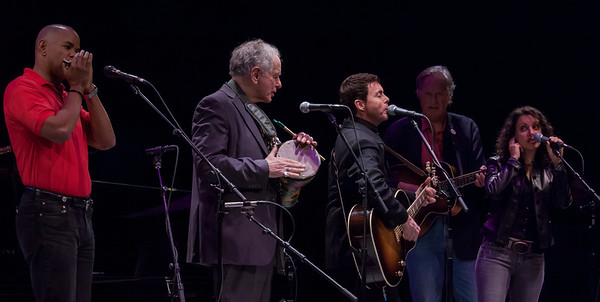 Guy Davis, David Amram, Richard Barone, Tom Chapin and Lucy Kaplanski  at Symphony Space, NYC for the Hudson River Sloop Clearwater Tribute to George Wein, October 2011.
